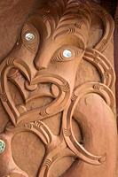 Maori carving at the Waitangi Treaty Grounds, New Zealand.
