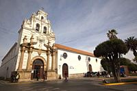 View to the antique Santa Barbara Convent and Monastery and todays Santa Barbara Hospital at the historic center, Sucre, Chuquisaca Department, Bolivi...