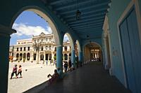 View to the Plaza Vieja-Old Square with colorful buildings and art galleries, Old Havana-Havana Vieja, La Habana, Cuba, West Indies, Central America