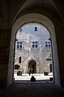 town hall seen from the arches, narni, near terni, umbria, italy.