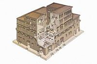 Antequera, Spain - July 14th, 2017: Roman Insulae or apartment building. Historical reconstruction drawing at Archaelogical Museum of Cordoba, Spain.