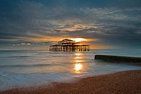West Pier at sunset, Brighton, Hove, East Sussex, England, Uk, Gb.
