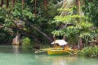 Boat trips on the Loboc river. Loboc Bohol. Pleasure boat on the River Loboc, Bohol, Philippines.