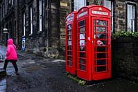 Telehone box on the streets of Edinburgh.