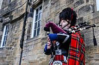 Musician in traditional Scottish costume, Edinburgh.