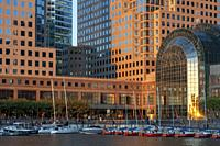 World Financial Center office buildings in the financial district of Manhattan. World Financial Center. Winter Garden Atrium Brookfield Place on the N...