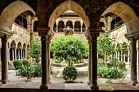 Cloister of the cathedral Saint-Leonce, Fréjus, Var, Provence-Alpes-Cote d`Azur, France, Europe.