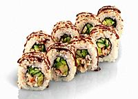 Few pieces of sushi roll california. Two rows of sushi sprinkled with unagi sauce. Reflection. Isolated on white background.