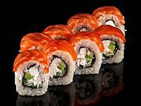 Several sushi rolls Philadelphia. Black background with reflection.