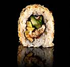 Single sushi roll california rotated. Black background. Reflection.