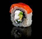 Sushi roll Philadelphia rotated. Black background. Reflection.