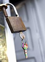 Padlock with keys. Castellon, Spain.