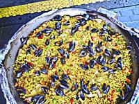 Rice and seafood platter for sale at the Fish Market in Bergen, Norway.