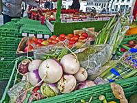 Produce at an outdoor market in Bergen, Norway.