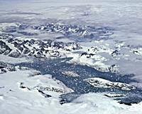 A lake in Greenland from 40,000 feet.