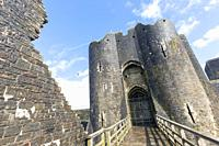 Caerphilly, Caerphilly, Wales, United Kingdom. Caerphilly castle entrance.