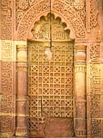 Close up of detail on exterior of Qutub Minar tower in New Delhi, India, Asia. It is one of the main attractions in the capital city.