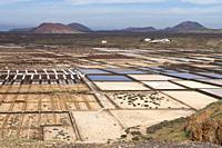 Panorama of the saltworks created by man. Salinas de Janubio, Lanzarote. Spain.