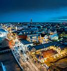 Reykjavik at twilight, Christmas time, Iceland.