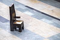 Bronze chairs designed by Maarten Baas for men waiting for their shopping wife to get back, Rotterdam, The Netherlands, Europe.