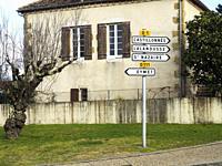 road signs at Lauzun, Lot-et-Garonne Department, Nouvelle Aquitaine, France.