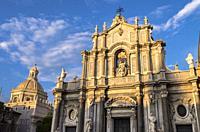 Saint Agathe Cathedral and Badia di Sant'Agata's dome, Catania, Sicily, Italy.