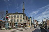 View of 19th century Chateau-des-Tourelles inn on Saint-Jean street, Québec city. Canada.