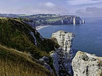 View from the Porte d'Amont Cliffs with the Falaise d'Aval in the background, Étretat; Normandy; France.