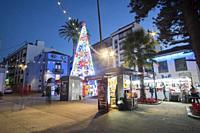 La Laguna Tenerife Canary islands on January 3, 2019: Christmas lights in a busy city.