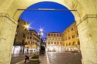Treviso Italy : Cityscape at twilight. Building called Palazzo del Trecento on Square Piazza dei Signori.
