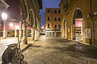 Venice, Veneto, Italy : Twilight in Grand Canal. Rialto market.