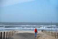 man walking towards the sea in Holland.