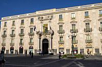 Universitat square, Palazzo San Giuliano, Catania, Sicily, Italy.