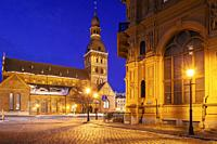 Dawn at Cathedral Square in Riga, Latvia.