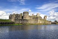 Caerphilly, Caerphilly, Wales, United Kingdom. Caerphilly castle with its moat.