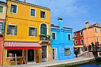 Houses in Burano, Venice, Veneto, Italy.