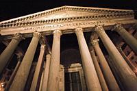 Pantheon, Roman temple with Corinthian columns, Piazza della Rotonda square, Rome, Lazio, Italy, Europe.