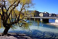 Pont de la Machine seen from L'île Rousseau -Rousseau island, Rhone river, Geneva, Switzerland, Europe