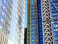 Close up of modern buildings in the City of London - England.
