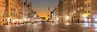 Long Market Panorama in Gdansk, Poland, evening view.