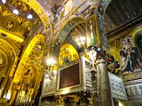the Palatine Chapel, Cappella Palatina, Medieval Byzantine style mosaics, Palermo, Sicily,Italy.