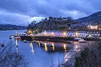 Colorful houses on the pier, Portree (Port Rìgh), Isle of Skye, Highlands, Scotland, United Kingdom.