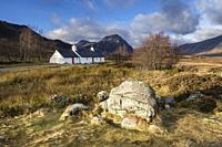 Typical house, Glen Coe valley, Lochaber Geopark, Highlands, Scotland, United Kingdom.