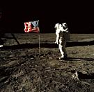 EARTH, THE MOON, Sea of Tranquility -- 20 Jul 1969 -- Astronaut Edwin E Aldrin, Jr, lunar module pilot of the first lunar landing mission, poses for a...