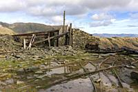 Derelict mine workings at Saddlestone Quarry on the flank of The Old Man of Coniston in the Lake District National Park, Cumbria, England.