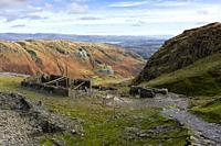 Saddlestone Quarry on the flank of The Old Man of Coniston with the Coppermines Valley beyond in the Lake District National Park, Cumbria, England.