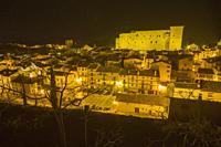 Mora de Rubielos Teruel Aragon Spain. Nightscape of the medieval village.