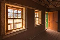 """Alonzo Russell adobe house (featured in the film """"Butch Cassidy and the Sundance Kid""""), Grafton ghost town, Utah USA."""