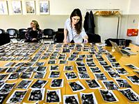 The Hague, Netherlands. Workshop Image Selection in progress, at agency Hollandse Hoogte. Training of skills for photographers and Photo Journalists i...