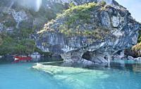 Tourist boat exploring the surreal Marble Caves (Capilla de Mármol), Rio Tranquilo, Aysen, Patagonia, Chile.